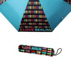 Taschen-Regenschirm mit buntem Fernsehturm-Print auf schwarzem Grund und hellblauen Feldern. Dazu gibt es eine kleine Schutzhülle.